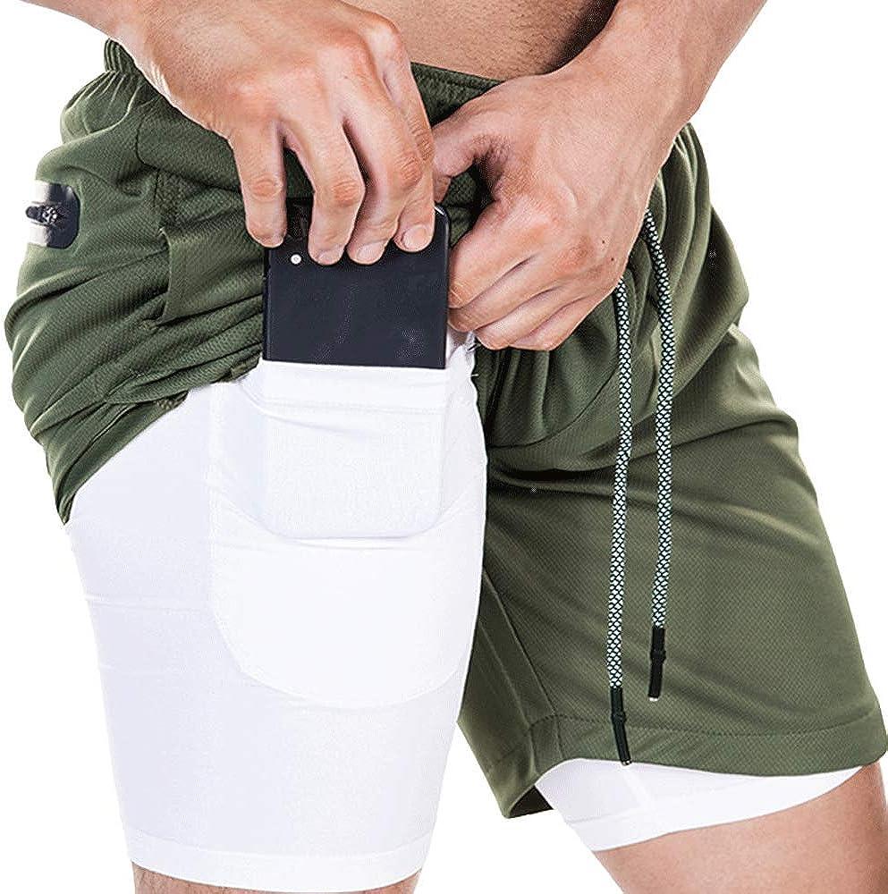Mens Gym Workout Shorts Outdoor Running Sport Pants Lightweight Training Shorts with Zipper Pocket