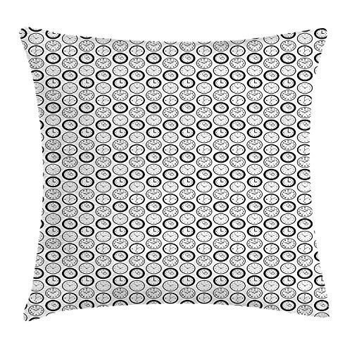 (YVSXO Clock Throw Pillow Cushion Cover, Retro Analog Watches with Roman Numerals Monochrome Clocks Vintage Inspirations, Decorative Square Accent Pillow Case, 18 X 18 inches, Black)