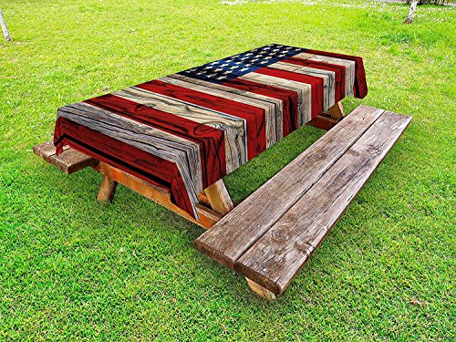 4th of July Outdoor Tablecloth,Wooden Planks Painted as United States Flag Patriotic Country Style,Banquet Wedding Party Restaurant Tablecloth,57W X 96.5L Inch Red Beige Navy Blue