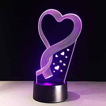 Optique Lampe 3d Veilleuse Illusion Led Ruban Coeur Zqq D'amour De 4AjL35cRq
