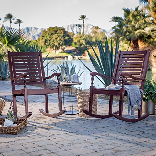 (Set of 2 Outdoor Solid Hard Wood Burgundy Red Outdoor Porch Rocking Chairs Rocker)