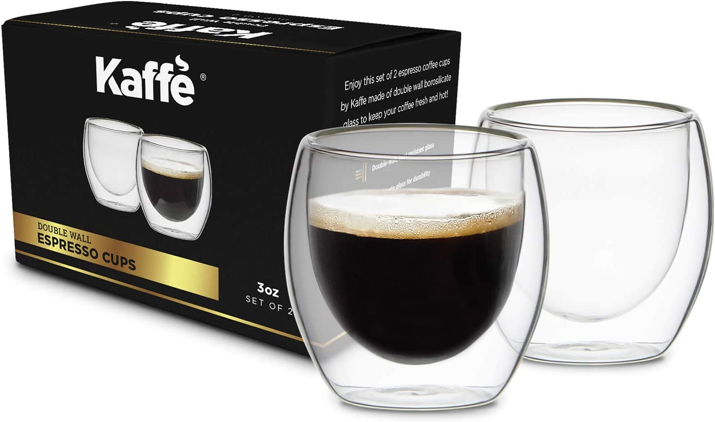 KF4040 Espresso Mugs Set of 2 (Two). 3oz Cups Double-Wall Borosilicate Glass