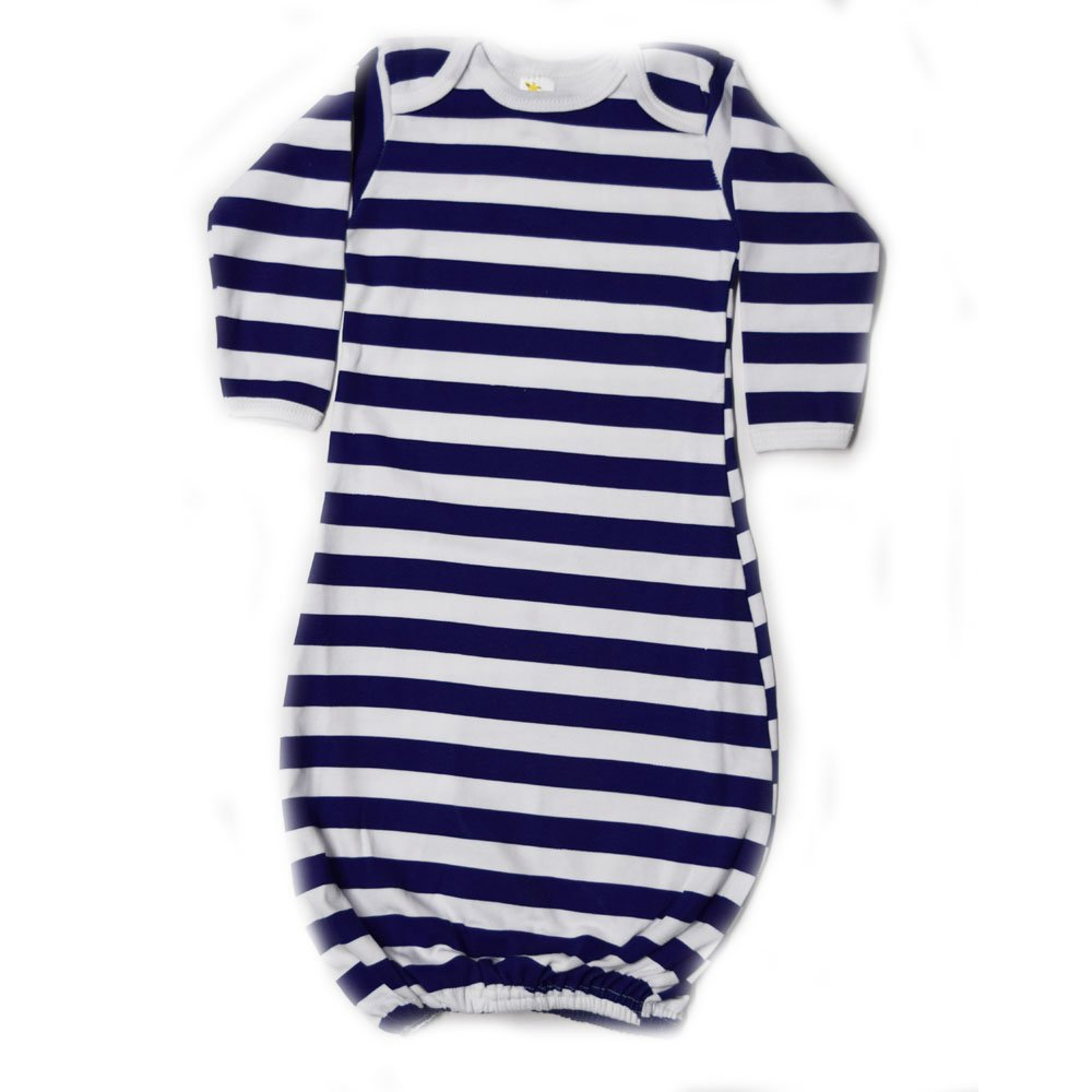 Laughing Giraffe Unisex Long Sleeve Cotton Baby Gown (0-3M, Navy Stripes) LG2800