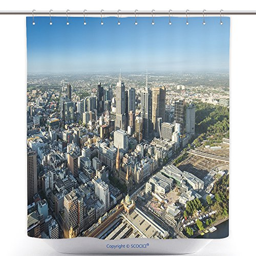 vanfan-Polyester Shower Curtains Melbourne City Central Area From Top View Polyester Bathroom Shower Curtain Set With Hooks(70 x 78 - Melbourne Map Central