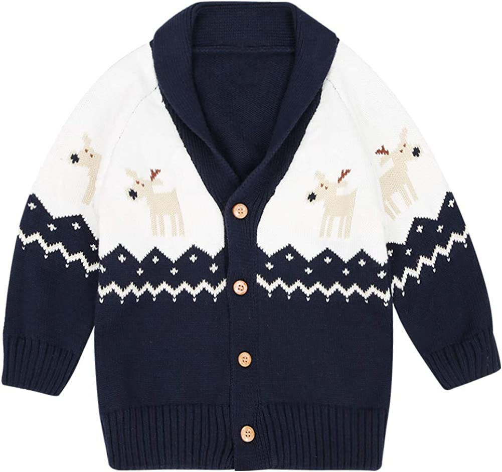 Christmas Deer Long Sleeve V-Neck Button Down Cotton Jacket CARETOO Baby Boys Girls Cardigan Sweater