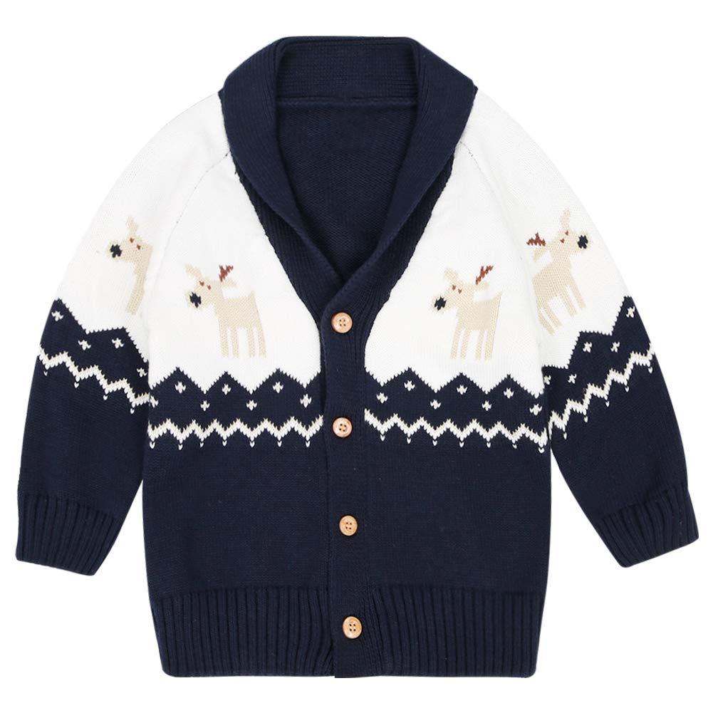 WESIDOM Baby Girls Boys Cardigan Sweater,Toddler Kids Christmas Deer Long Sleeve Button Closure Sweater Coat Navy by WESIDOM