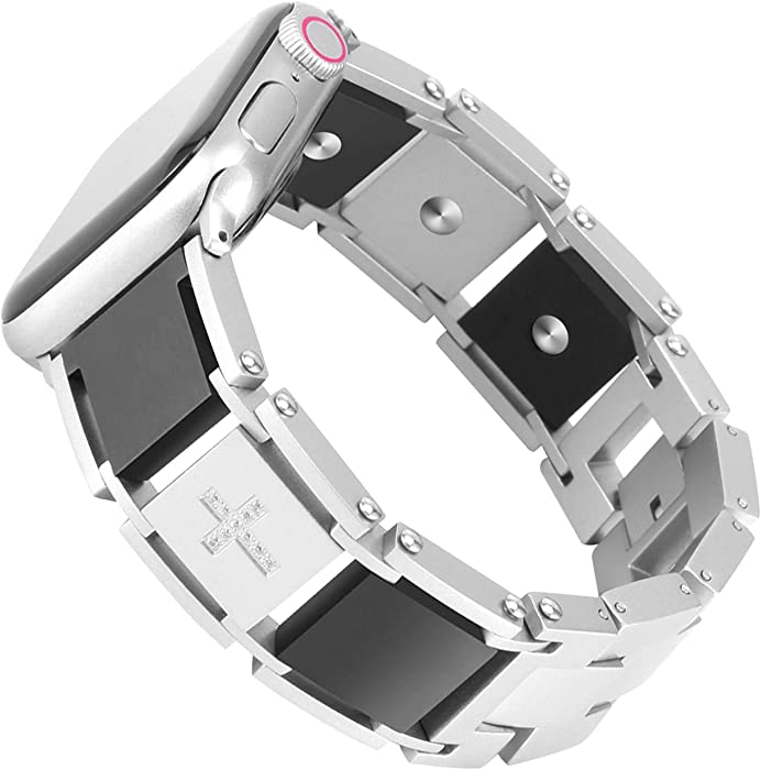 Fohuas stainless steel man Women Band Compatible for Apple Watch 42mm/44mm,Smooth Titanium two tone Replacement Bracelet for apple Watch series 1 2 3 4 5--silver black