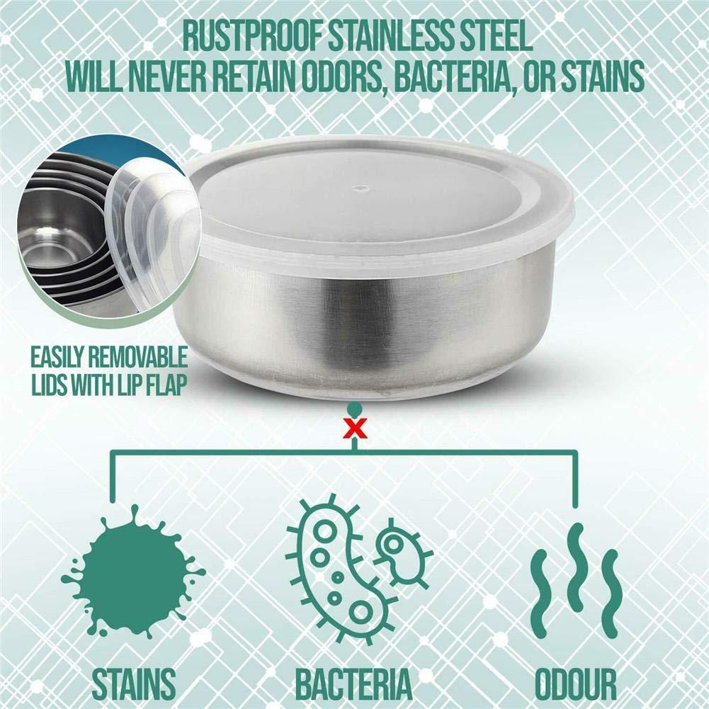 MRlegendary 5PCS Set de Bol en Acier Inoxydable avec Fond et couvercles en Silicone antid/érapant Durable