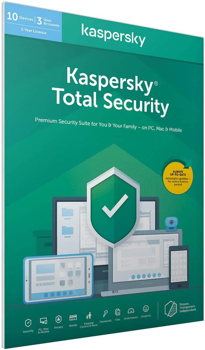 Kaspersky Total Security 3 Licencias 2 Años | PC/Mac/Android | Codigo en en paquete [windows_10,windows_8_1,windows_7,mac_os_x,android]