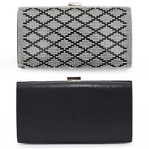 Bag Case 2 Frame Handbag Evening Shoulder Hard Black Metal Rhinestone Woman Clutch Bags 6qFS55