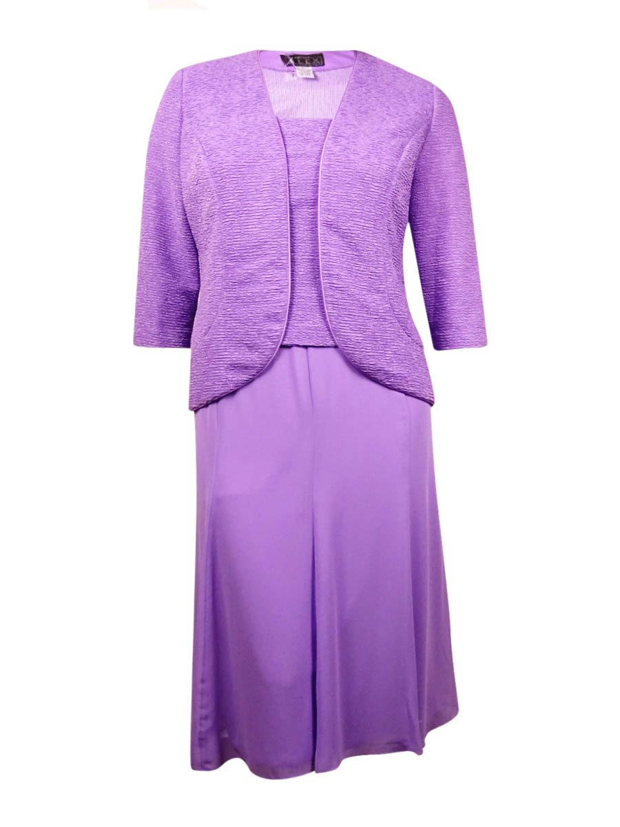 Alex Evenings Womens Petite Glitter Sheath Dress Set Purple 6P