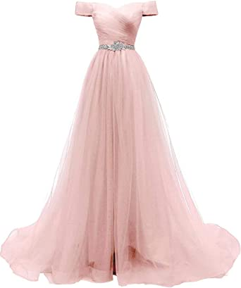 Amazon.com: AiniDress Women's A-line Tulle Prom Dresses Off the Shoulder  Formal Evening Ball Gown: Clothing