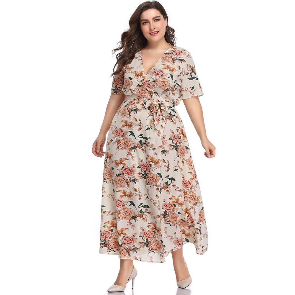 60s 70s Plus Size Dresses, Clothing, Costumes ESPRLIA Womens Plus Size Floral Print V-Neck Slit Wrap Long Flare Flowy Beach Dress $29.99 AT vintagedancer.com
