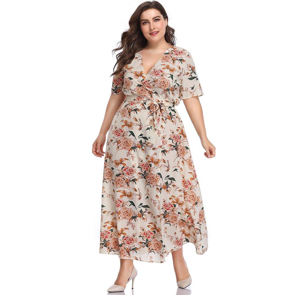 70s Dresses – Disco Dresses, Hippie Dresses, Wrap Dresses ESPRLIA Womens Plus Size Floral Print V-Neck Slit Wrap Long Flare Flowy Beach Dress $29.99 AT vintagedancer.com