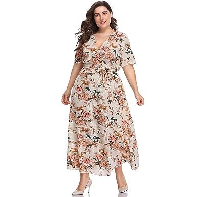 52a656d963 ESPRLIA Womens Plus Size Fit and Flare Vintage Party Maxi Dress (Apricot