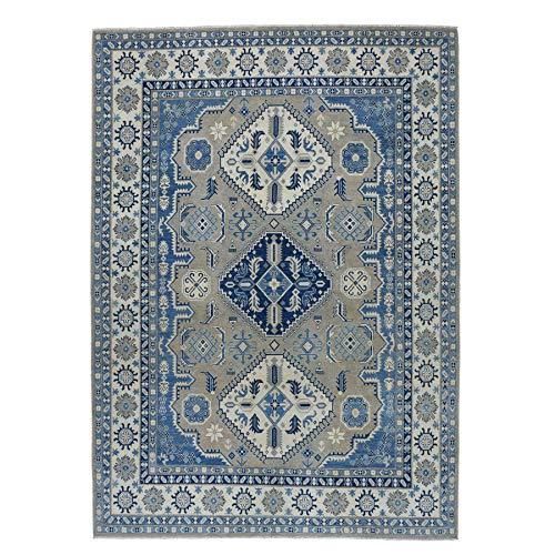 (Gray Vintage Look Kazak Geometric Design Pure Wool Hand-Knotted Oriental Rug(8'10