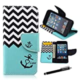 iPod Touch 5 Case,iPod Touch 6 Wallet Case - Nautical Anchor Chevron Zig-Zag Pattern Premium PU Leather Wallet Case Stand Cover Card Slots for Apple ipod Touch 5 Ipod touch 6 Gen + CoolGiftCase Stylus
