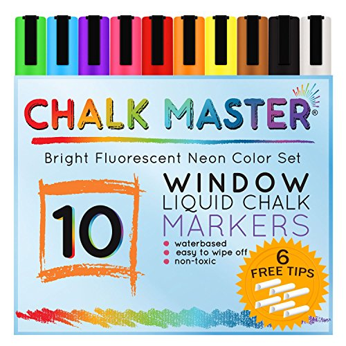 Chalkmaster Liquid Chalk Markers - Huge Window 10 Color Liquid Chalk Premium Artist Quality Marker Pen Set + 6 FREE Additional 6 mm Reversible Chisel to Bullet Point Tips -100% Guarantee -