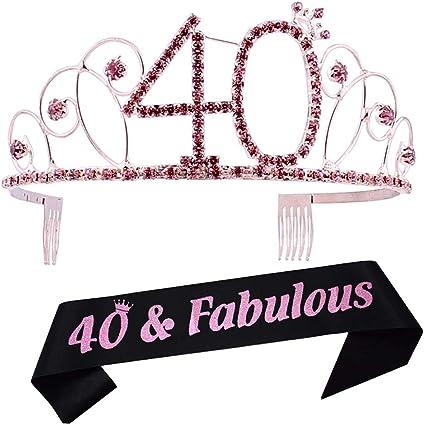 Amazon.com: Tiara de 40 cumpleaños y fajín de 40 cumpleaños ...