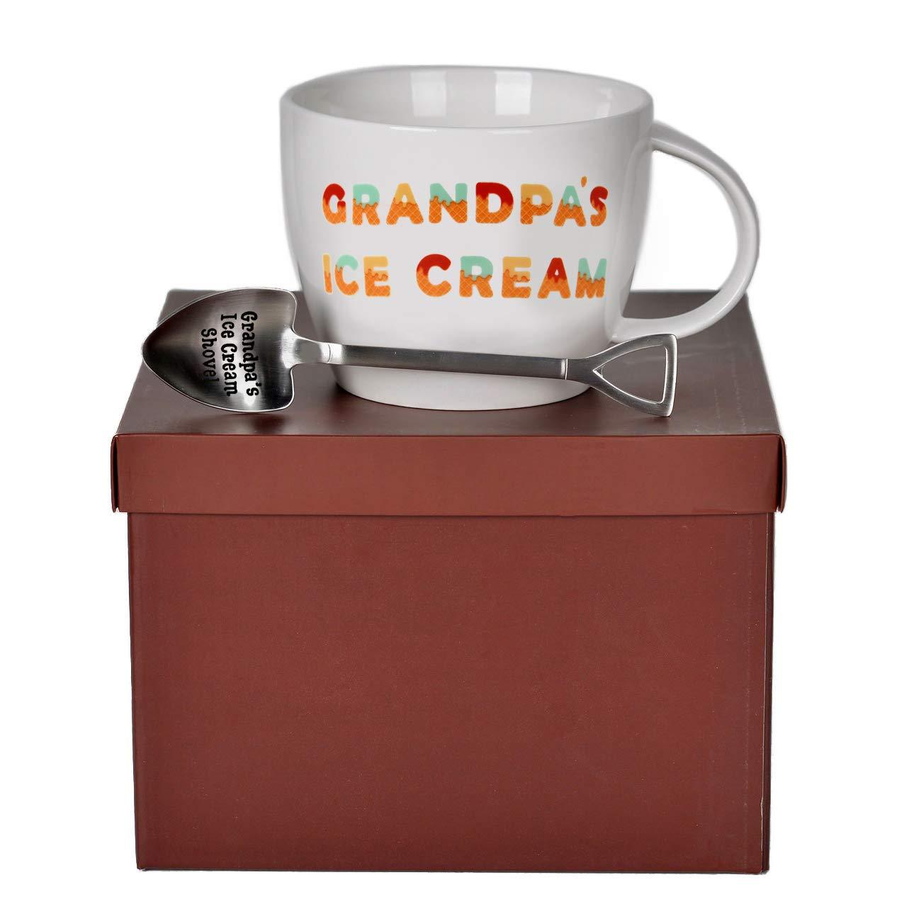 Josephine on Caffeine Gifts for Grandpa - Grandpa's Ice Cream Bowl and Engraved Spoon Grandpa's Ice Cream Shovel - Ideal or Birthday Gift by Josephine on Caffeine (Image #6)