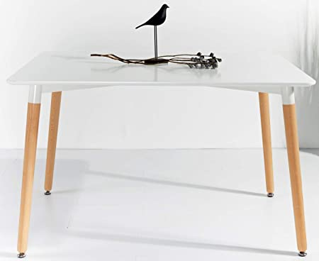 Kosmi Table Scandinave Blanche 6 Personnes 120 X 80 Cm Table