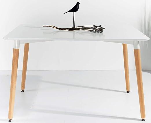 KOSMI - Mesa blanca escandinava 6 personas 120 x 80 cm, mesa ...