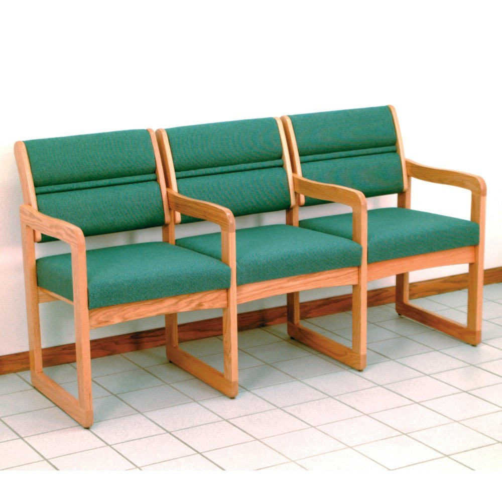Triple Office Reception椅子in MediumソリッドOakフレームW布張りBacks & Seats (グリーン水彩) B009MD8SIC