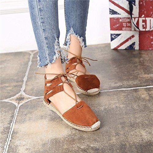 &huo Cuerda de cáñamo de paja, zapatos de pescador de base gruesa, sandalias de Roma, zapatos de moda , 37 , brown 36