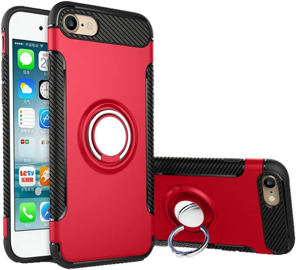 UEEBAI Case for iPhone 6 Plus,Ultra Slim Shockproof Silicone TPU+PC Case Anti-Scratch 360 Degree Rotatable Ring Kickstand Used As in-car Phone Holder Stand Cover for iPhone 6 Plus/6S Plus - Red