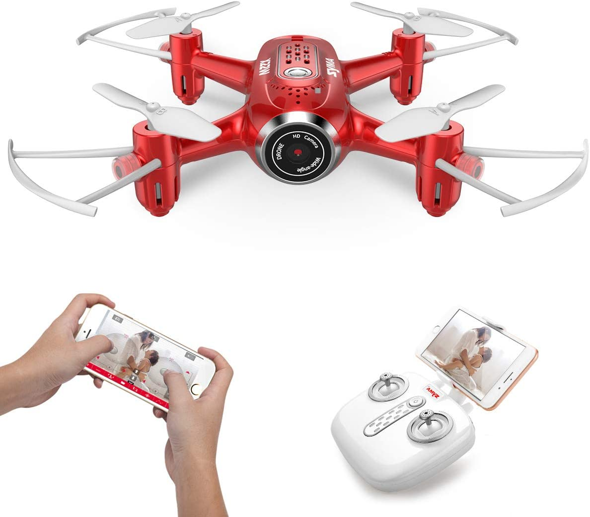 Headless Mode 3D Flips Syma X300 Foldable Drone with Camera for Adults 1080P FHD FPV Live Video Quadcopter for Kids Beginners Tap Fly Optical Flow Positioning 2 Batteries 40mins Altitude Hold