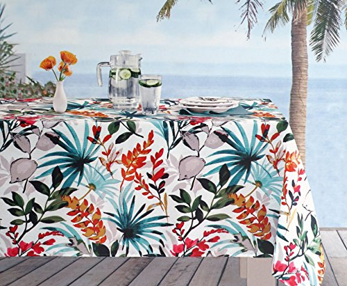 Envogue Indoor / Outdoor Fabric Tablecloth Colorful Tropical Floral Leaves Palms Pattern Red Orange Blue Green Beige Tan on White -- 60 Inches by 84 (Red Tropical Leaves)
