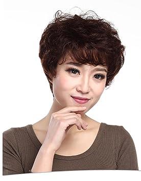 GAIHU Onda corta Curly Bob 100% Humano Real cabello virgen peluca con flequillo lateral color
