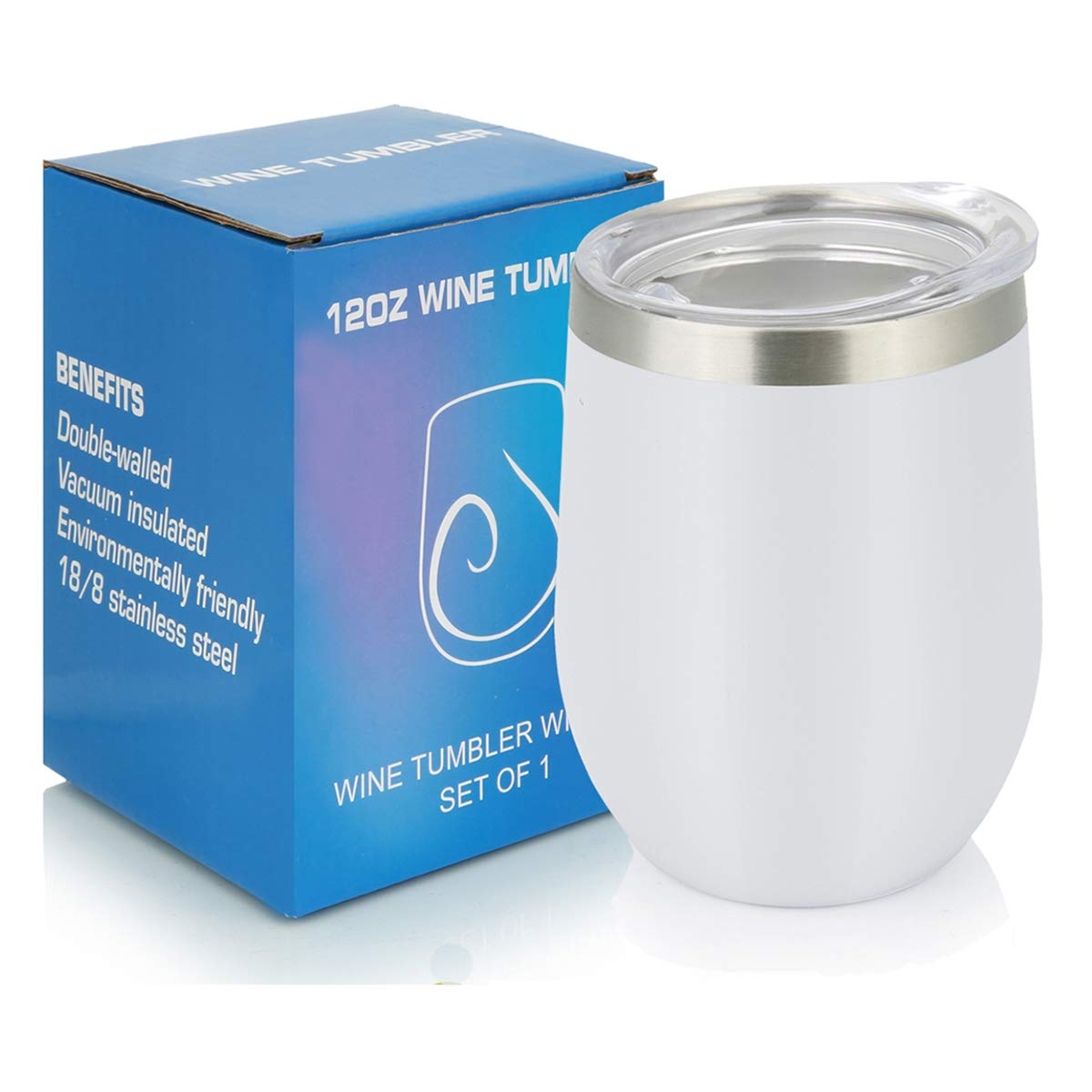 PURECUP Stainless Steel Insulated Wine Tumbler With Lid12 ozDouble Wall Vacuum Insulated
