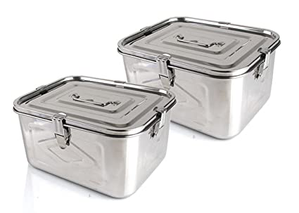 Stainless Steel Rectangular Food Storage Container Kimchi Container X 2EA