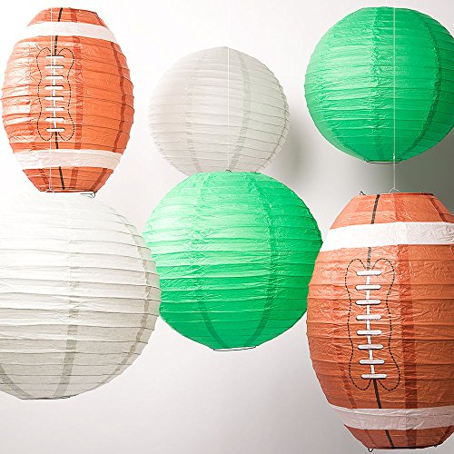 Quasimoon PaperLanternStore.com Philadelphia Pro Football Paper Lanterns 6pc Combo Tailgating Party Pack (Green/Grey)