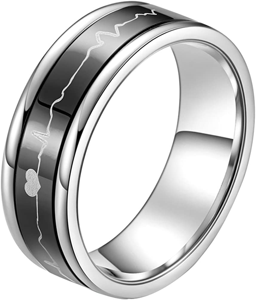ALEXTINA 7MM Smooth Stainless Steel Spinner Rings for Women Men Heartbeat Couple Rings Black Blue