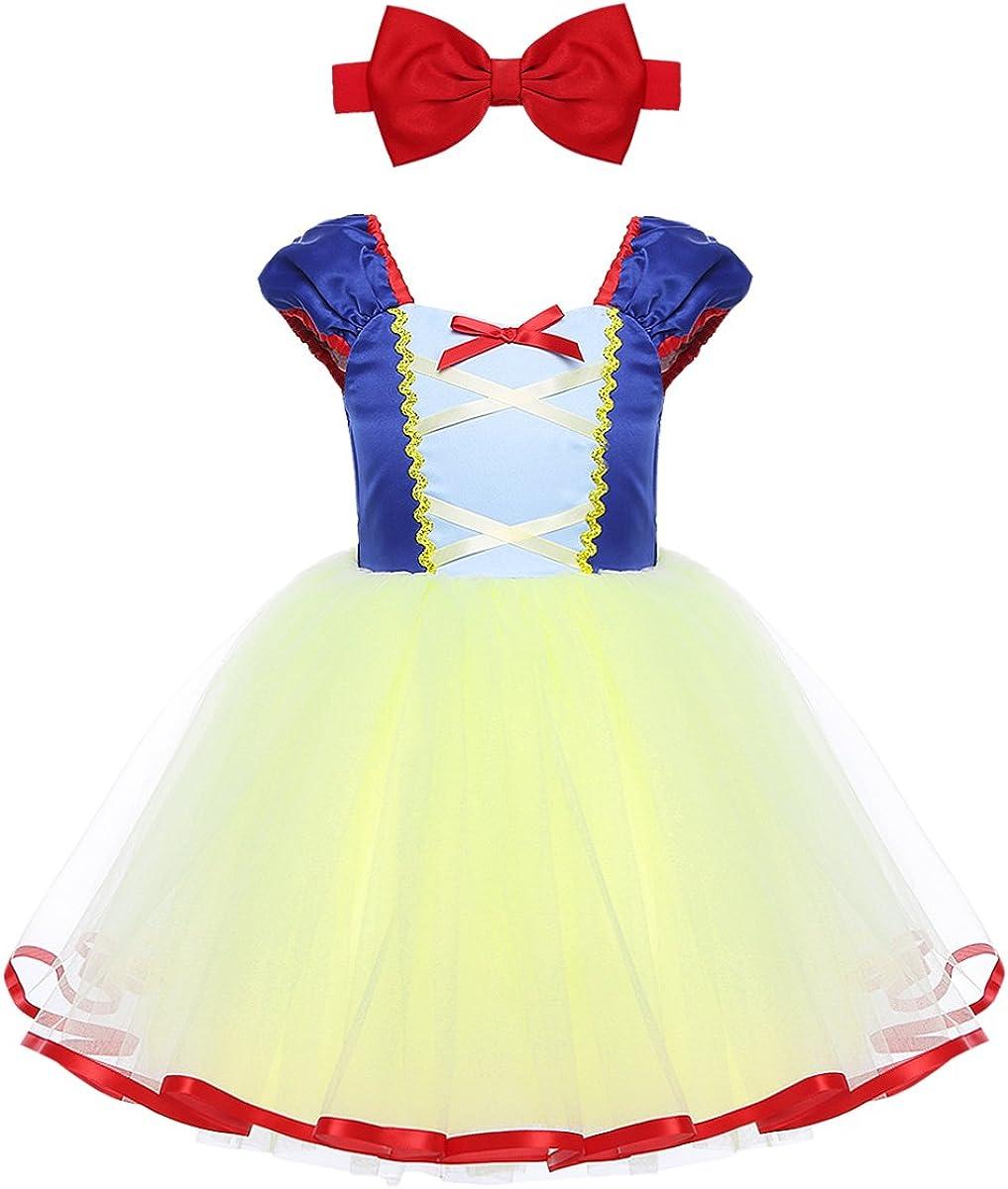 CHICTRY Vestido Tutú de Princesa Bebé Niñas Disfraz Infantil Vestido de Fiesta Carnaval con Tocado Cosplay Anime 1-5 Años