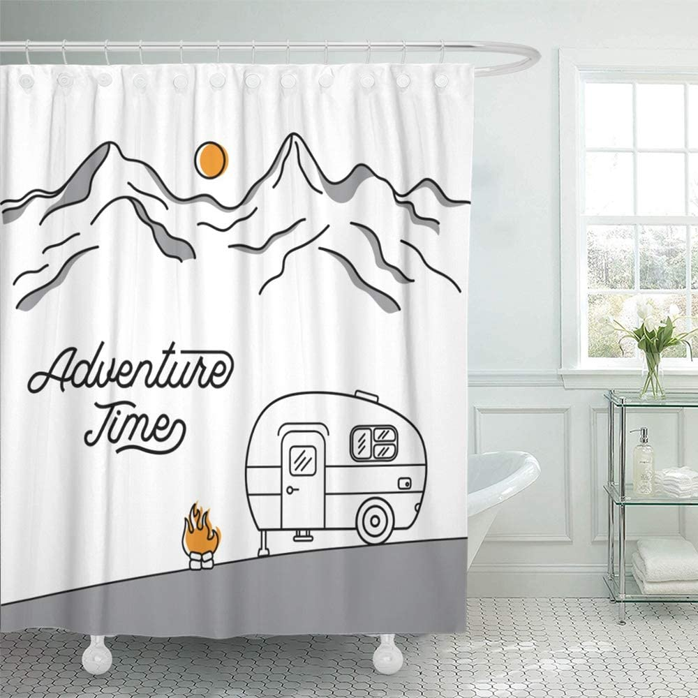 Emvency Shower Curtain Set Waterproof Adjustable Polyester Fabric Road with Retro Camper on The of Mountains Line Style Trip Van Vintage Activity 60 x 72 Inches Set with Hooks for Bathroom