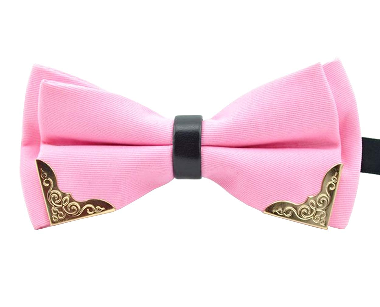 MENDENG Mens Gold Metal Black PU Leather Satin Bow Ties Tuxedo Formal Bowtie