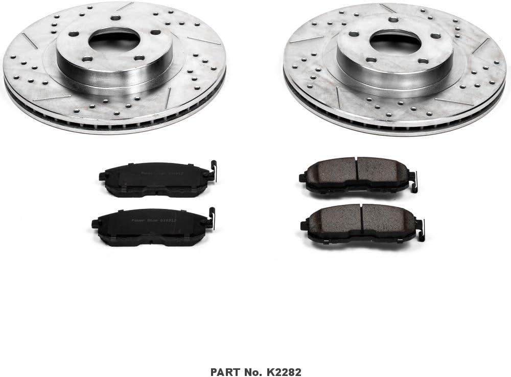 Fit 2002-2008 Nissan Altima Maxima Rear Slotted Brake Rotors+Ceramic Brake Pads