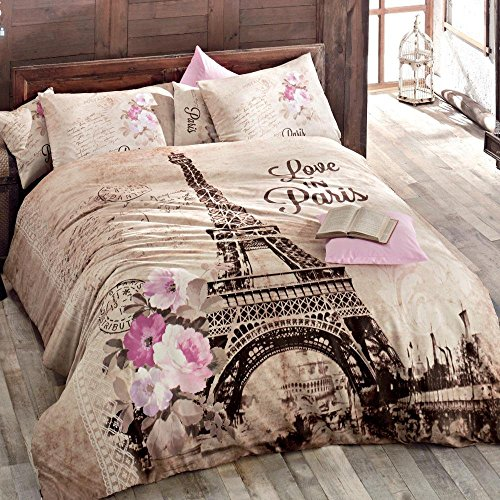 - 100% Turkish Cotton Paris Eiffel Tower Theme Themed Full Double Queen Size Duvet Cover Set Made in Turkey (twin)