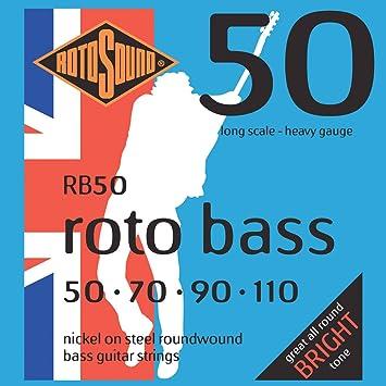 Rotosound - Cuerdas para bajo eléctrico (entorchado redondo, calibres: 50 70 90 110): Amazon.es: Instrumentos musicales