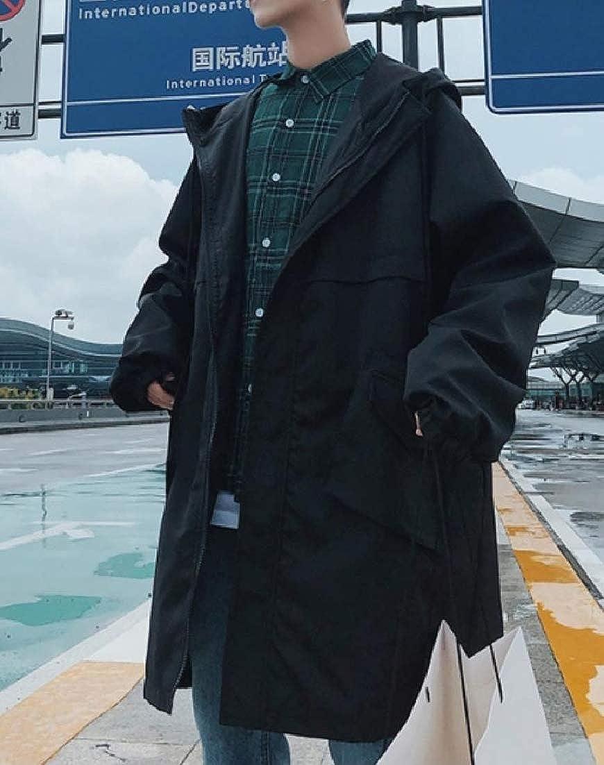 Black Doanpa Men's Hoode Hoode Hoode Full-Zip Relaxed-Fit Solid color Casual Trench Coat 406cf1