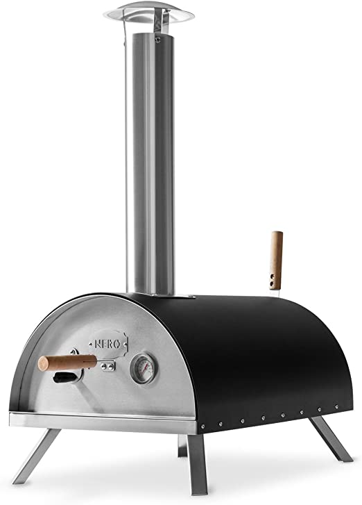 Burnhard Nero Stainless Steel Outdoor Pizza Oven Incl Pizza Slicer Pizza Stone Pizza Oven Premium Wood Fired Oven For The Garden Can Be Used