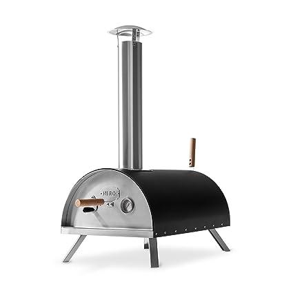 BURNHARD Horno para Pizzas Exterior de Acero Inoxidable Nero Incluye Pala y Piedra para Pizza,