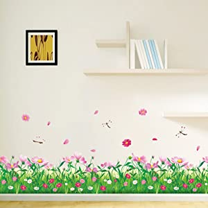 Amaom Removable Beautiful Nursery Pink Butterfly Flowers Baseboard Wall Decals Murals Home Art Decor Peel Stick Wall Stickers for Wall Corner Kids Room Bedroom Living Room Decorations