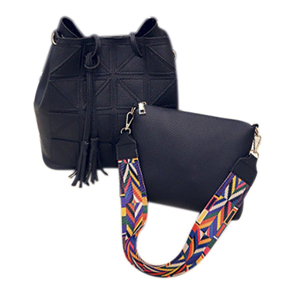 QZUnique Women's Top Tote Bag PU Leather Crossbody Bag Bucket Bag Tassel Shoulder Bag 2 Bags, Brown, One Size
