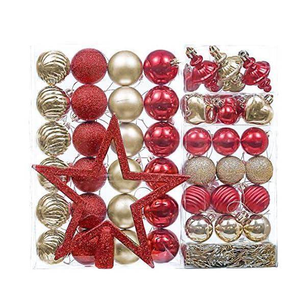 Valery Madelyn Palle di Natale 60 Pezzi di Palline di Natale, 3-5 cm di Lusso Rosso e Oro Infrangibile Ornamenti di Palla di Natale Decorazione per la Decorazione Dell'Albero di Natale 1 spesavip