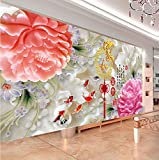 5D new diamond drill full circle diamond embroidery painting the living room and a painters sharply Blossoming peony stitch nine fish Figure,250100