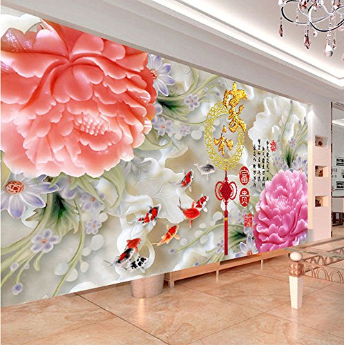 5D new diamond drill full circle diamond embroidery painting the living room and a painters sharply Blossoming peony stitch nine fish Figure,250100 by China palaeowind